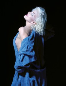 Marilyn Forever Blonde - Sunny Thompson blue robe -  photo by Howard Petrella